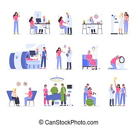 Cancer diagnostics, treatment and rehabilitation. Hospital medical therapy, female character having chemo treatment and surgery. Woman win a cancer. Vector illustration in cartoon style