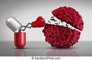 Cancer Drugs - Cancer drugs fighting a cancerouse cell as a...