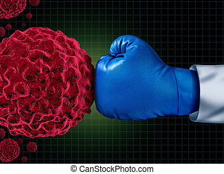 Cancer Fight - Cancer fight medical concept with an arm of a...