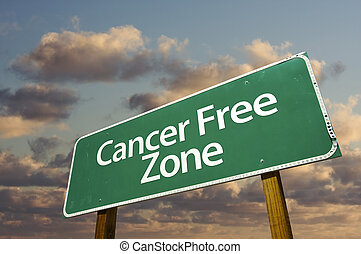 Cancer Free Zone Green Road Sign and Clouds - Cancer Free...