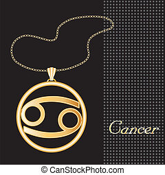 Cancer Gold Necklace - Gold embossed horoscope symbol,...