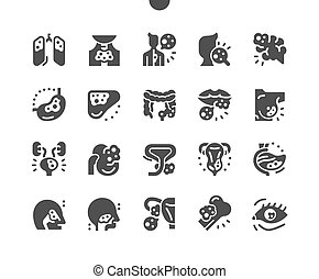 Cancer. Health, care, medical, medicine, disease, awareness. Brain, liver, lungs, trachea, bowel, cancer. Support, charity and help. Vector Solid Icons. Simple Pictogram