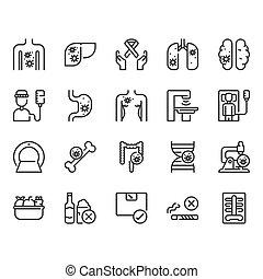 Cancer icon set. Vector illustration