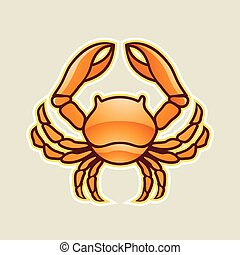 cancer, illustration, vecteur, lustré, crabe, orange, ou, icône