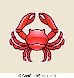 cancer, illustration, vecteur, lustré, crabe, ou, rouges, icône