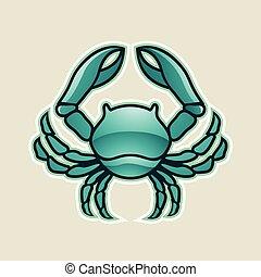 cancer, illustration, vecteur, vert, lustré, crabe, icône, ou, persan