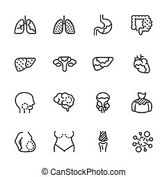 Cancer, Medical and healthcare icons set, Vector line icons