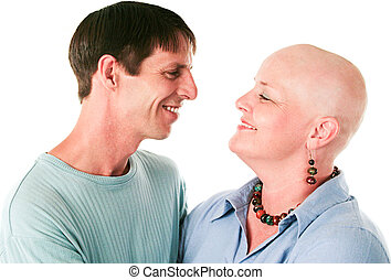 Cancer Patient and Husband In Love - Cancer patient smiles...
