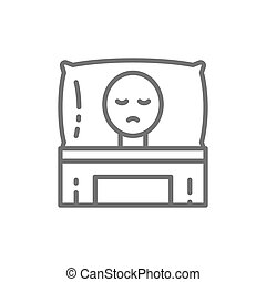 Cancer patient in bed, oncology line icon.