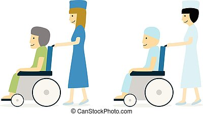 Cancer patient on wheelchair and nurse, vector