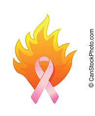 cancer pink burning ribbon illustration design