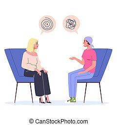 Cancer rehabilitation concept. Woman talking to psychologist
