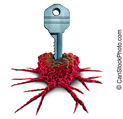 Cancer research key and tumor or tumour treatment concept therapy as an oncology symbol or immunotherapy icon as a 3D illustration.