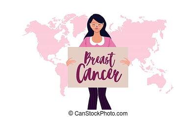 cancer sein, bannière, campagne, animation, femme, lettrage