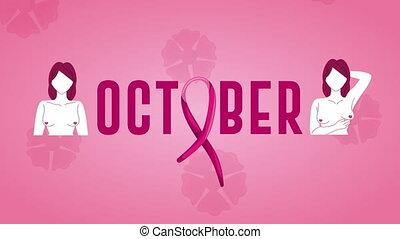 cancer sein, octobre, campagne, nu-chested, lettrage, femmes