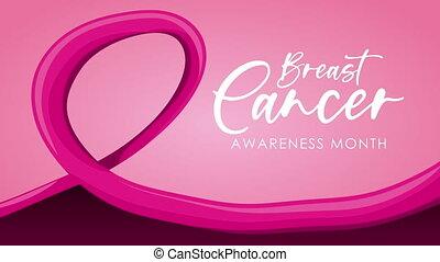 cancer sein, rose, campagne, animation, ruban, lettrage