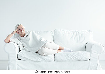cancer survivor on couch