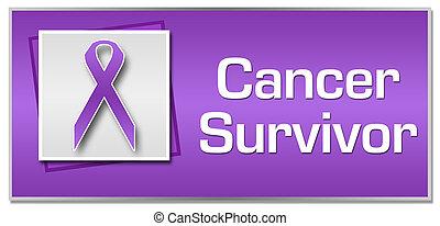 Cancer Survivor Purple Ribbon - Cancer survivor textual...
