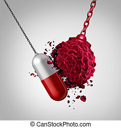 Cancer treatment medicine cure as a pill destroying a malignant cancer cell as a pharmaceutical disease concept as a 3D illustration.
