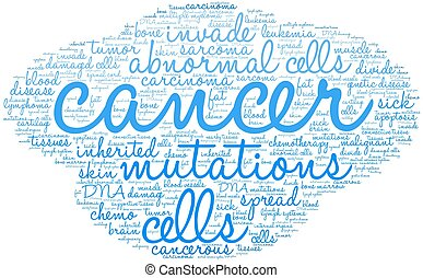 Cancer word cloud on a white background.