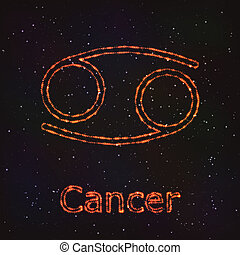 cancer., zodiac, astrologie, symbool., het glanzen