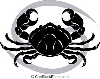 Illustration of Cancer the crab zodiac horoscope astrology sign