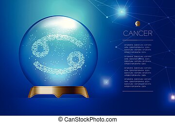 Cancer Zodiac sign in Magic glass ball, Fortune teller concept design illustration on blue gradient background with copy space, vector eps 10