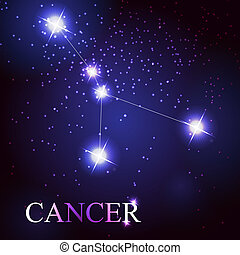 cancer zodiac sign of the beautiful bright stars on the...