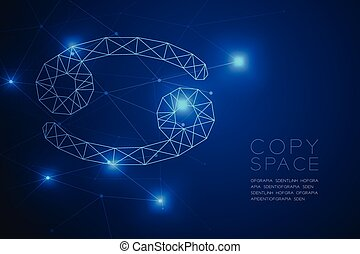 Cancer Zodiac sign wireframe Polygon frame structure, Fortune teller concept design illustration isolated on blue gradient background with copy space, vector eps 10