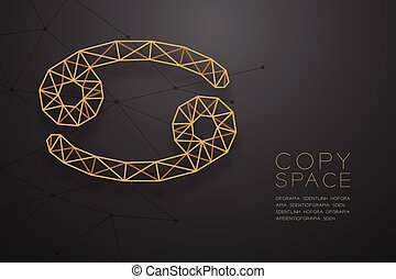 Cancer Zodiac sign wireframe Polygon golden frame structure, Fortune teller concept design illustration isolated on black gradient background with copy space, vector eps 10