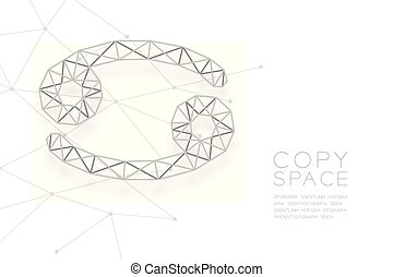 Cancer Zodiac sign wireframe Polygon silver frame structure, Fortune teller concept design illustration isolated on white background with copy space, vector eps 10