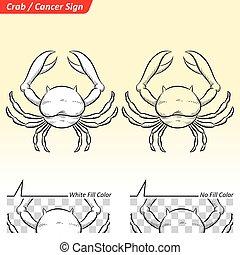 Cancer Zodiac Star Sign Sketch - Vector Illustration of...