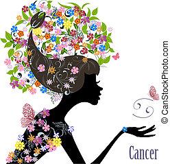 cancer., zodiak, fason, dziewczyna, znak