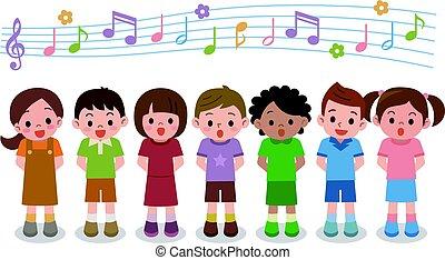 canción, niñas, ilustración, coro, niños, vector, canto