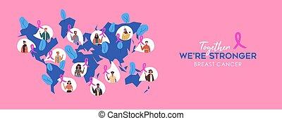 cancro, mappa, persone, consapevolezza, diverso, mondo
