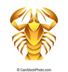 cancro, segno, simbolo., oroscopo, zodiaco, dorato