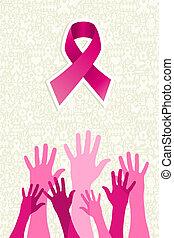 cancro, seno, vettore, consapevolezza, mani, file., nastro,...