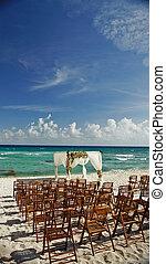 cancun, 結婚式, 海洋, メキシコ\