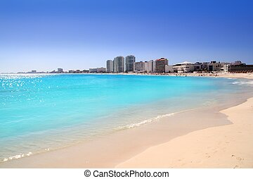 Cancun beach view from turquoise Caribbean water vacation...