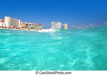 Cancun Caribbean sea view from up wave with turquoise water