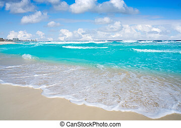 Cancun caribbean white sand beach