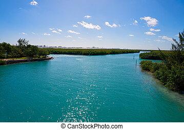 cancun, hôtel, nichupte, lagune, zone