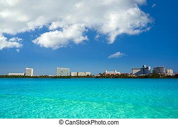 cancun, hôtel, nichupte, zone, mexique