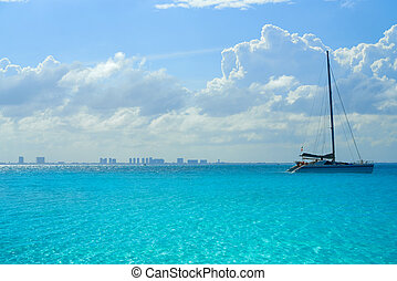 Cancun hotel zone from Isla Mujeres island Riviera Maya in...