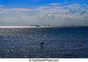 Cancun hotel zone from Isla Mujeres island