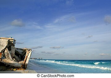 Cancun houses after hurricane storm