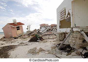 Cancun houses after hurricane storm - Cancun Caribbean...