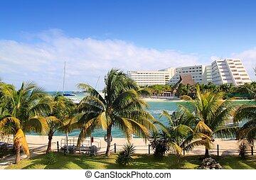 cancun, méxico, laguna, y, mar caribe