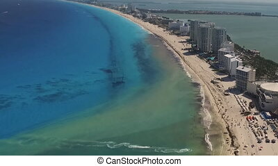 Cancun Mexico, coast beach, the view from the heights (time-lapse)