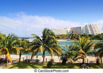 Cancun Mexico Lagoon and Caribbean sea Mayan Riviera